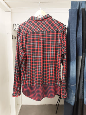 Red and Black Checkered Button Up Flanelette Shirt
