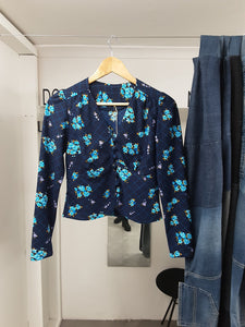 Vintage Blue Floral Long Sleeve Button Up Top