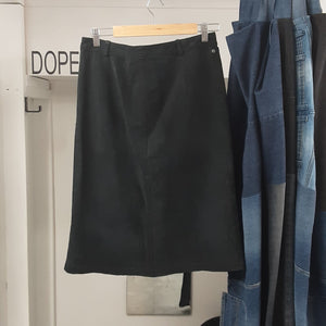 Midi Length Black Suede Skirt