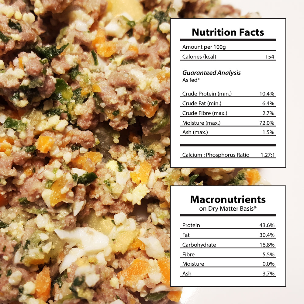7 packages Homemade Dog Food Beef Potato Recipe Nutritional Facts