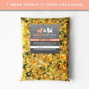 Beef and Potato food for Dogs, 1 Week, 7 packages