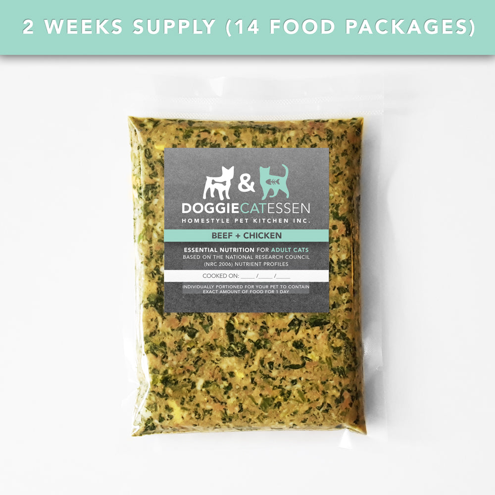 Beef and Chicken food for Cats, 2 Weeks, 14 packages