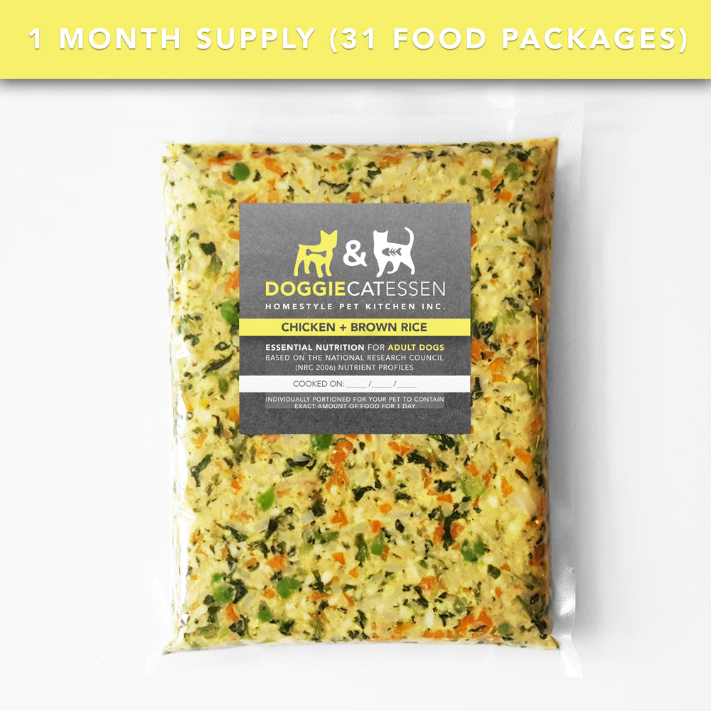 Chicken and Brown Rice food for Dogs, 1 Month, 31 packages