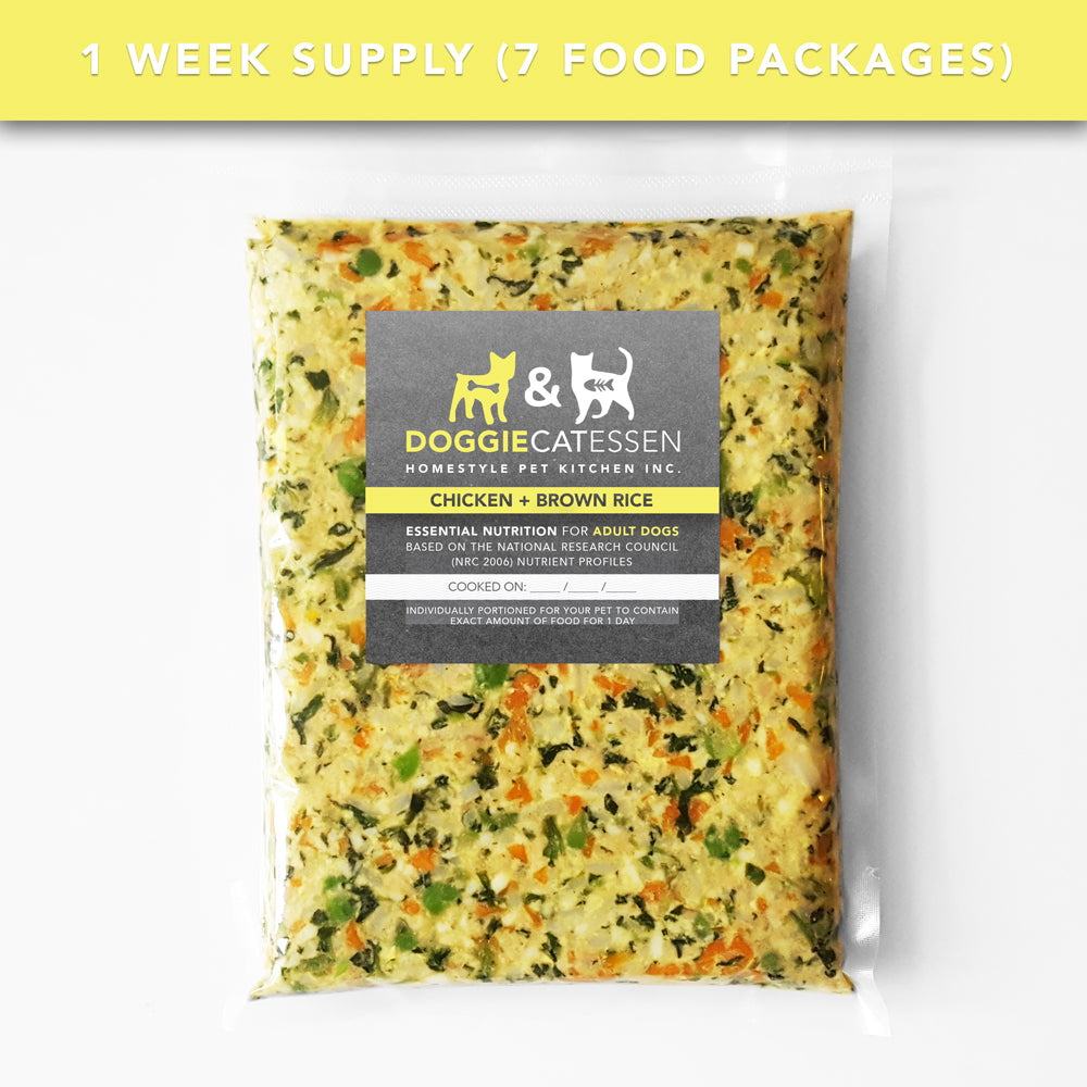 Chicken and Brown Rice food for Dogs, 1 Week, 7 packages