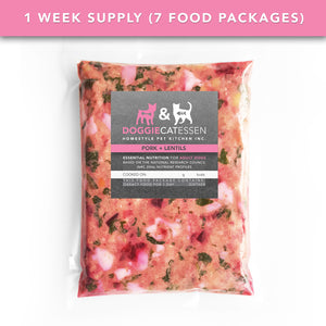Pork and Lentils food for Dogs, 1 Week, 7 packages