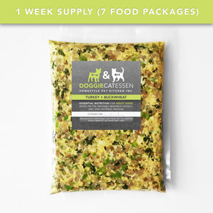 Turkey and Buckwheat food for Dogs, 1 Week, 7 packages