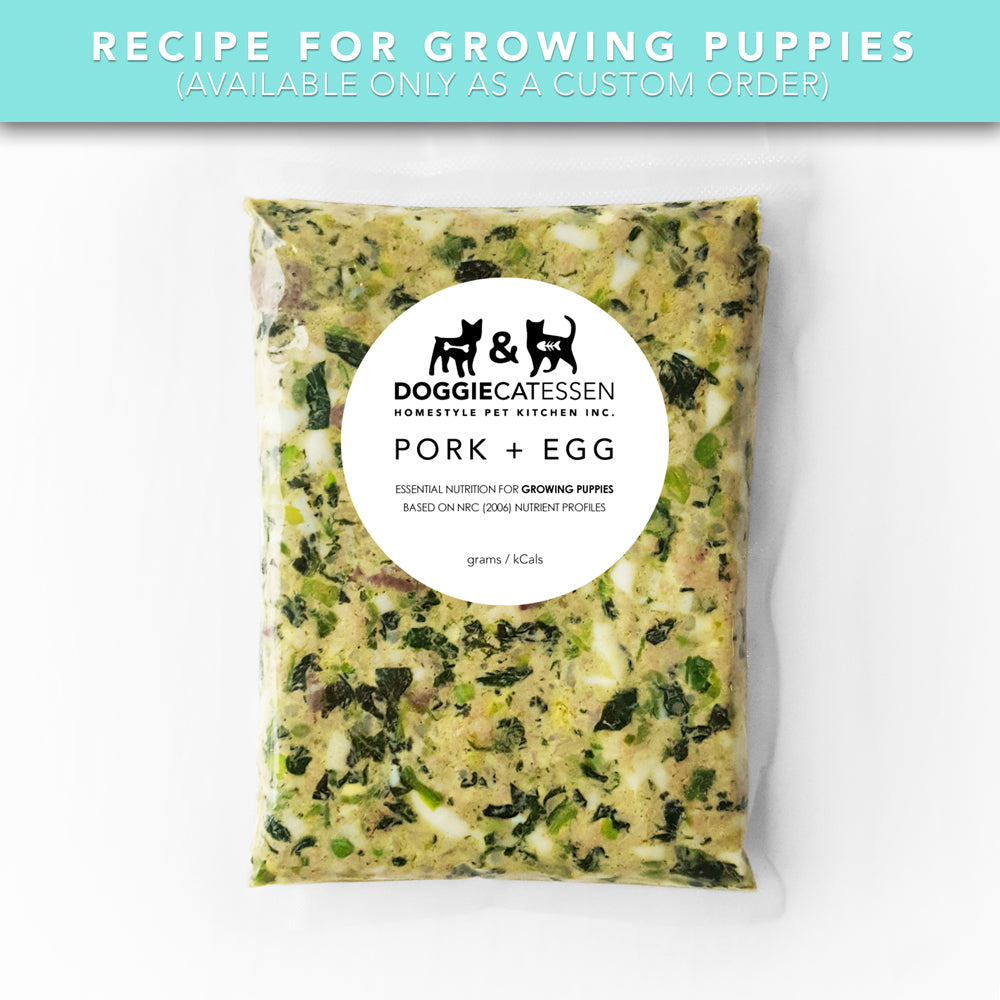 Pork and Egg puppy food for Dogs