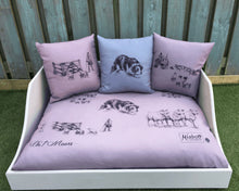 Load image into Gallery viewer, ON T'SHOOT LUXURY HANDMADE WOODEN DOG BED & CUSHION SET