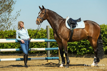 Load image into Gallery viewer, PS Of Sweden Monogram Jump or Dressage Saddle Pad with Matching Polo Bandages - Summer Edition