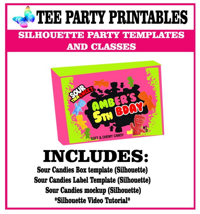 sour candies box tee party printables