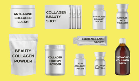Various types of collagen supplements, including powder, cream, capsules and liquid form.