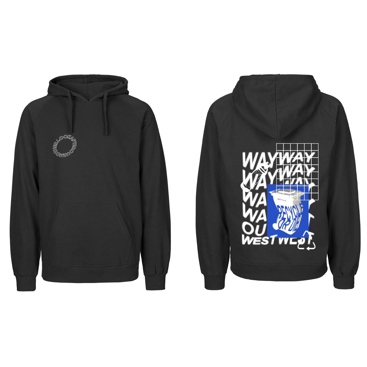 RECYCLE OR DIE HOODED SWEATER / BLACK