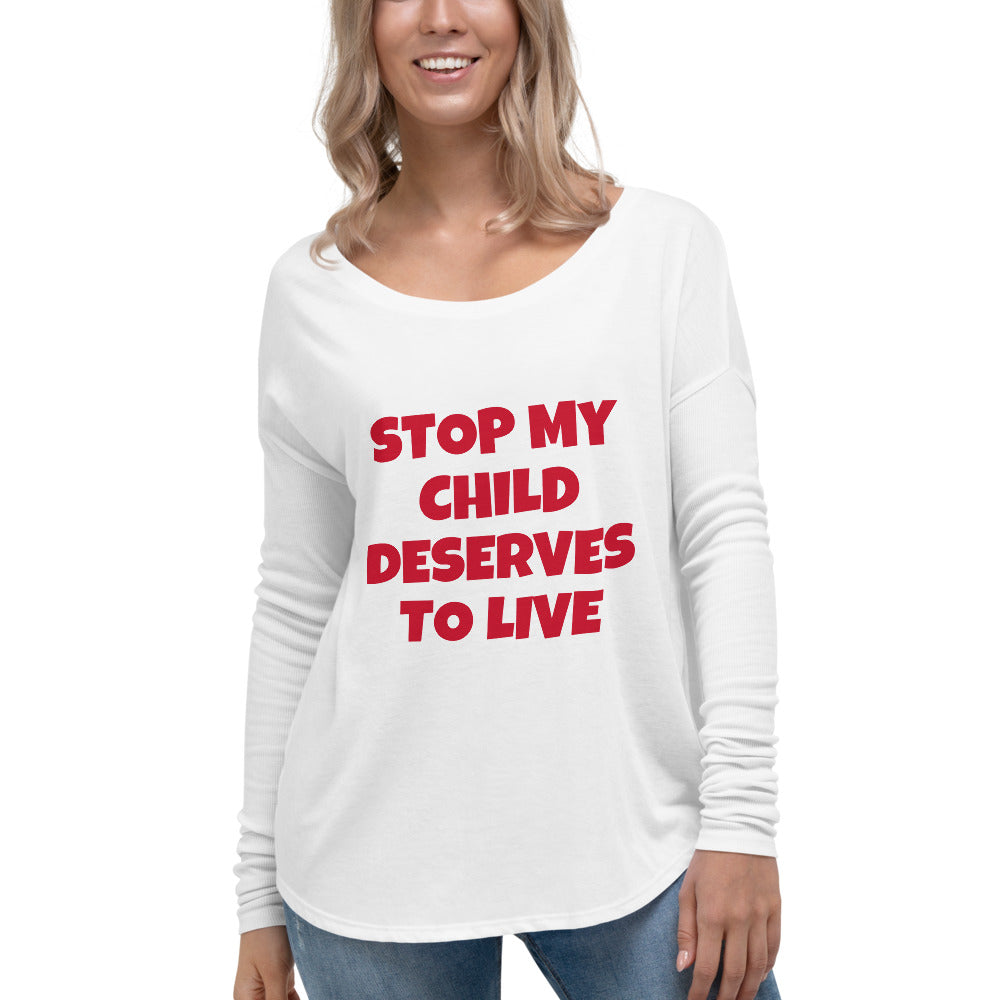 Ladies' STOP MY CHILD Long Sleeve Tee