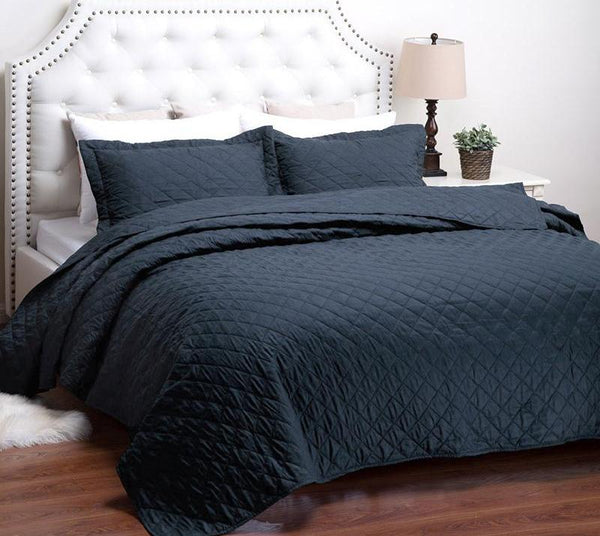 Navy Diamond Quilted Bed Set