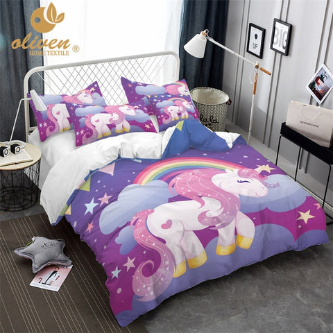 Unicorn Bedding Set Purple Designer Duvet Cover