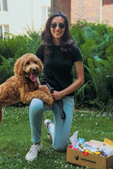 Picture of Alize Bhatia with her dog, Kayo