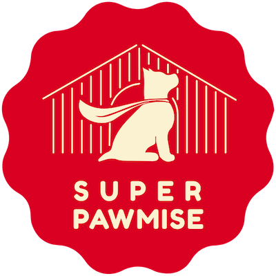 Super Pawmise Logo Red Background with the dog in front of his kennel