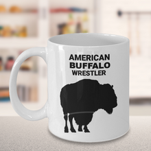 American Buffalo Wrestler 11oz. White Coffee Cup On Gray Table