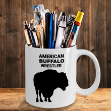 American Buffalo Wrestler White Coffee Cup As Pen & Pencil Holder