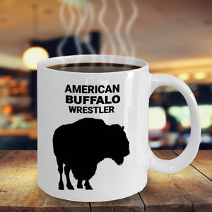 American Buffalo Wrestler 11oz. White Coffee Cup With Coffee