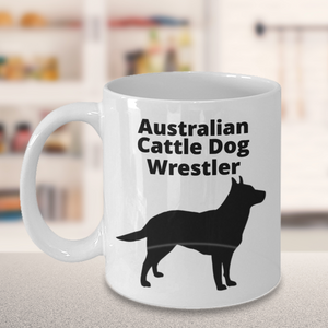 Australian Cattle Dog Wrestler White Coffee Cup On Table