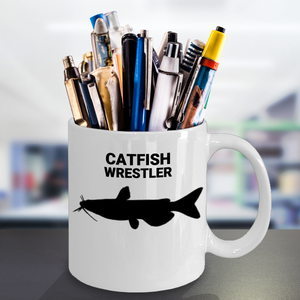 Catfish Wrestler 11oz. Coffee Cup Pen & Pencil Holder