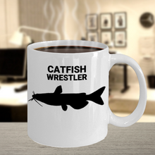 Catfish Wrestler White 11oz. Coffee Cup With Coffee