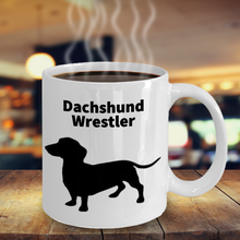Dachshund Wrestler White Coffee Cups