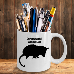 Opossum Wrestler White 11oz. Coffee Cup As Pen & Pencil Holder