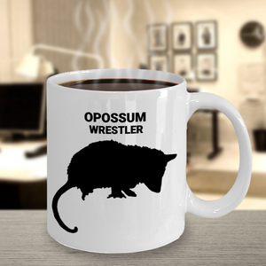 Opossum Wrestler White 11oz. Coffee Cup With Coffee
