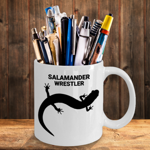White Ceramic 11oz. Salamander Wrestler Coffee Cup As Pencil Holder