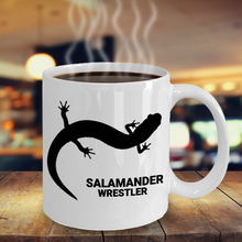 Salamander Wrestler White Ceramic 11oz. Coffee Cup on Table Top