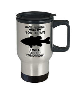 Bass Fishing With My Son Today Travel Mug
