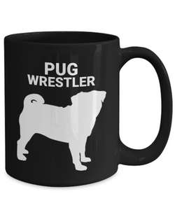 Pug Wrestler Black Ceramic Coffee Cups
