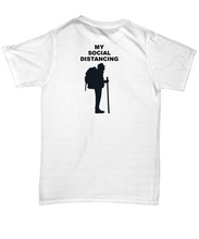 MY SOCIAL DISTANCING, Man, Backpacker, Cotton, Adult T-Shirt