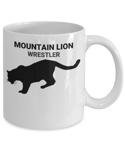 Mountain Lion Wrestler White Coffee Cups