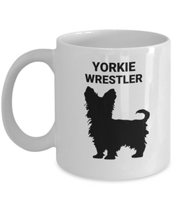 YORKIE WRESTLER, White, Ceramic Coffee Cups