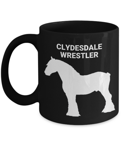 Clydesdale Wrestler Black Coffee Cup