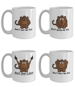 Three Wise Monkeys Plus One 15oz Coffee Cups