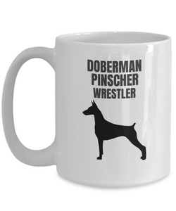 Doberman Pinscher Wrestler White Coffee Cups