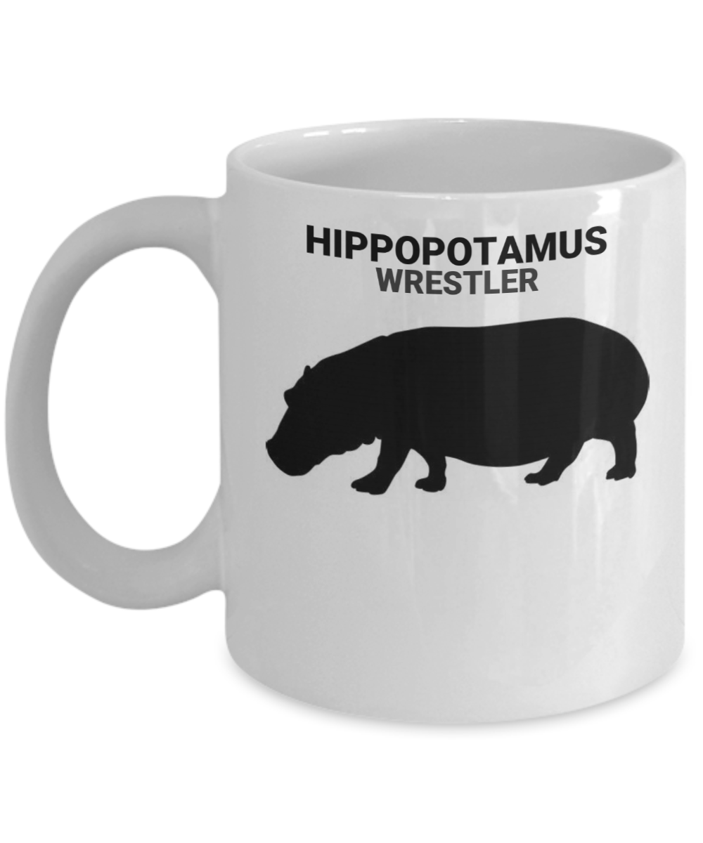 Hippopotamus Wrestler White Coffee Cups
