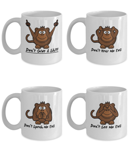 Three Wise Monkeys Plus One 11oz Coffee Cups