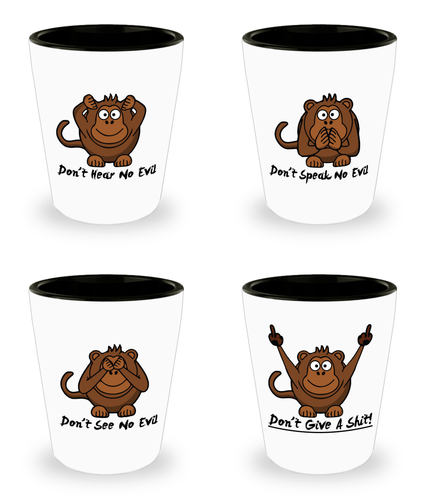 Three Wise Monkeys Plus One Shot Glass Set!