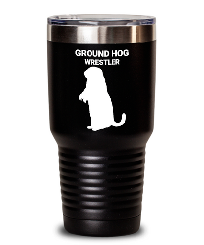 Groundhog Wrestler Black Tumblers