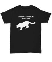 Mountain Lion Wrestler Black Adult T-Shirt