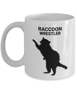 Raccoon Wrestler White Coffee Cups