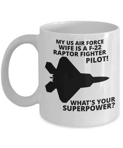 My U.S. Air Force Wife Is A F-22 Raptor Fighter Pilot! White Coffee Cup