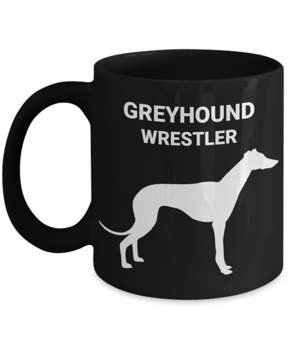 GREYHOUND WRESTLER, Black Ceramic, Coffee Cups