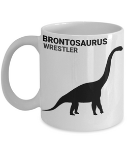 Brontosaurus Wrestler White Coffee Cups