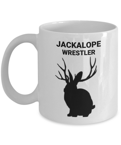 Jackalope Wrestler White Coffee Cups